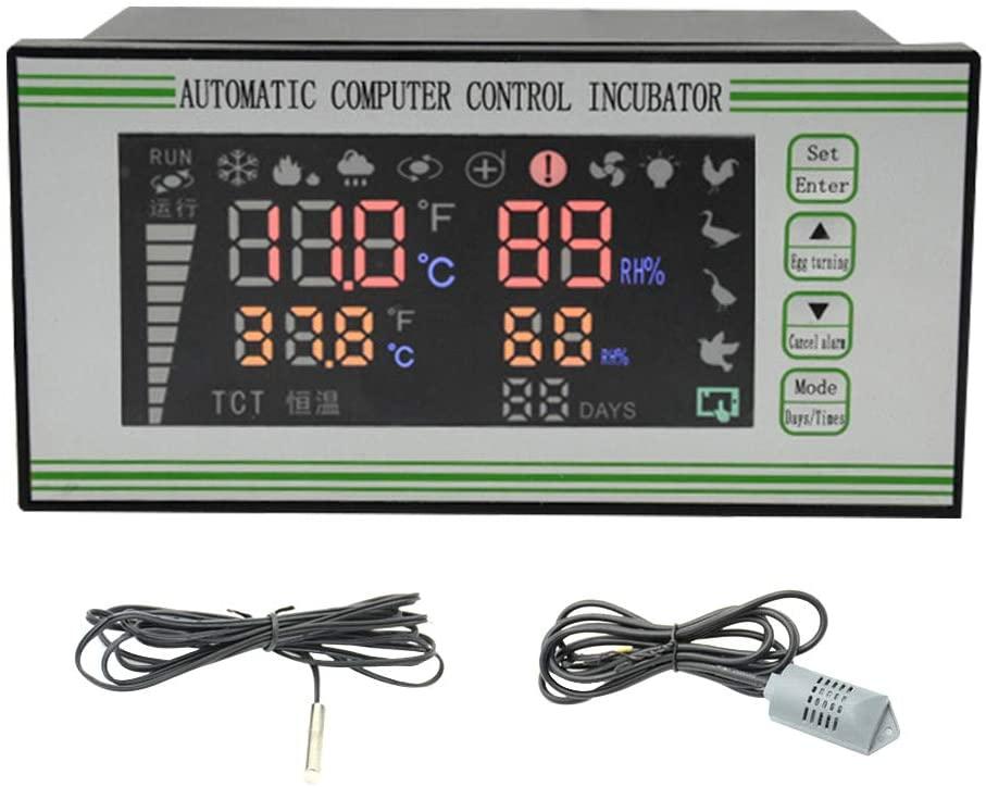 Digital LCD Display Small Incubator Controller with Temperature & Humidity Sensor, Intelligent Microcomputer Humiture Incubator Controller for Egg Incubator Farming