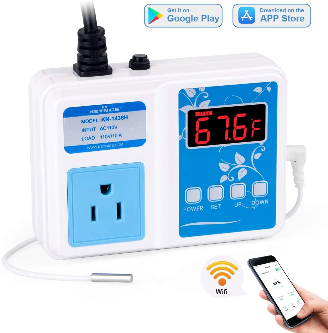 KEYNICE Wi-Fi Temperature Controller, Wireless Digital Outlet Thermostat, Heating and Cooling Mode, 110V Temp Controller with Waterproof Probe for Brewing Fermentation, Seed Germination, Aquarium