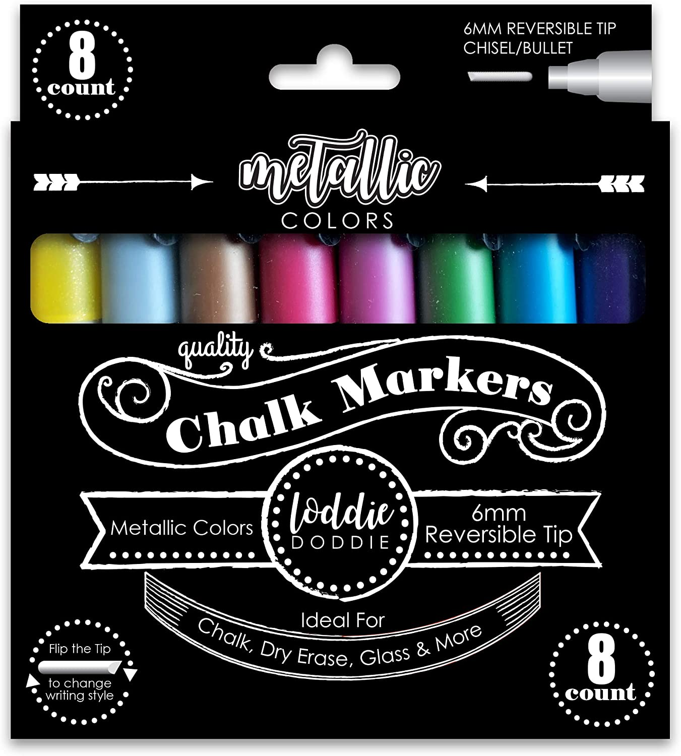Loddie Doddie 8ct Chalk Markers- Metallic Colors for use on Chalk, Dry Erase and Glass surfaces