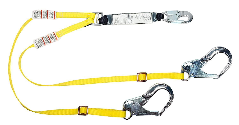 MSA 10155584 Workman Lite Line Twin Leg Web Lanyard, AL36CL Rebar Aluminum Snap Hook, Large Size, 6' Length