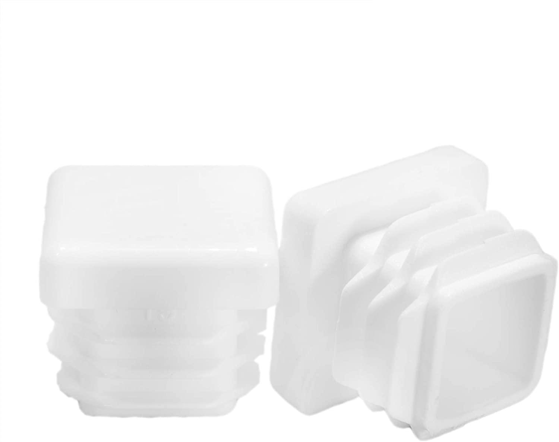 Prescott Plastics 3/4 Inch Square White Plastic Plug, Tubing Post End Cap, Chair Glide (8)