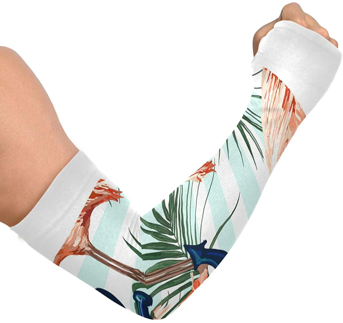 Cooling Arm Sleeves Anti-Slip Flamingo Sun Protection Arm Sleeves for Gym and Fashion