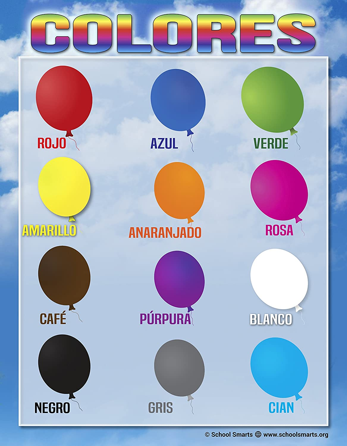 Spanish Colors Chart by School Smarts 12 Bold Colors ●Fully Laminated Durable Material Rolled for Protection and Sealed in a Protective Poster Sleeve.