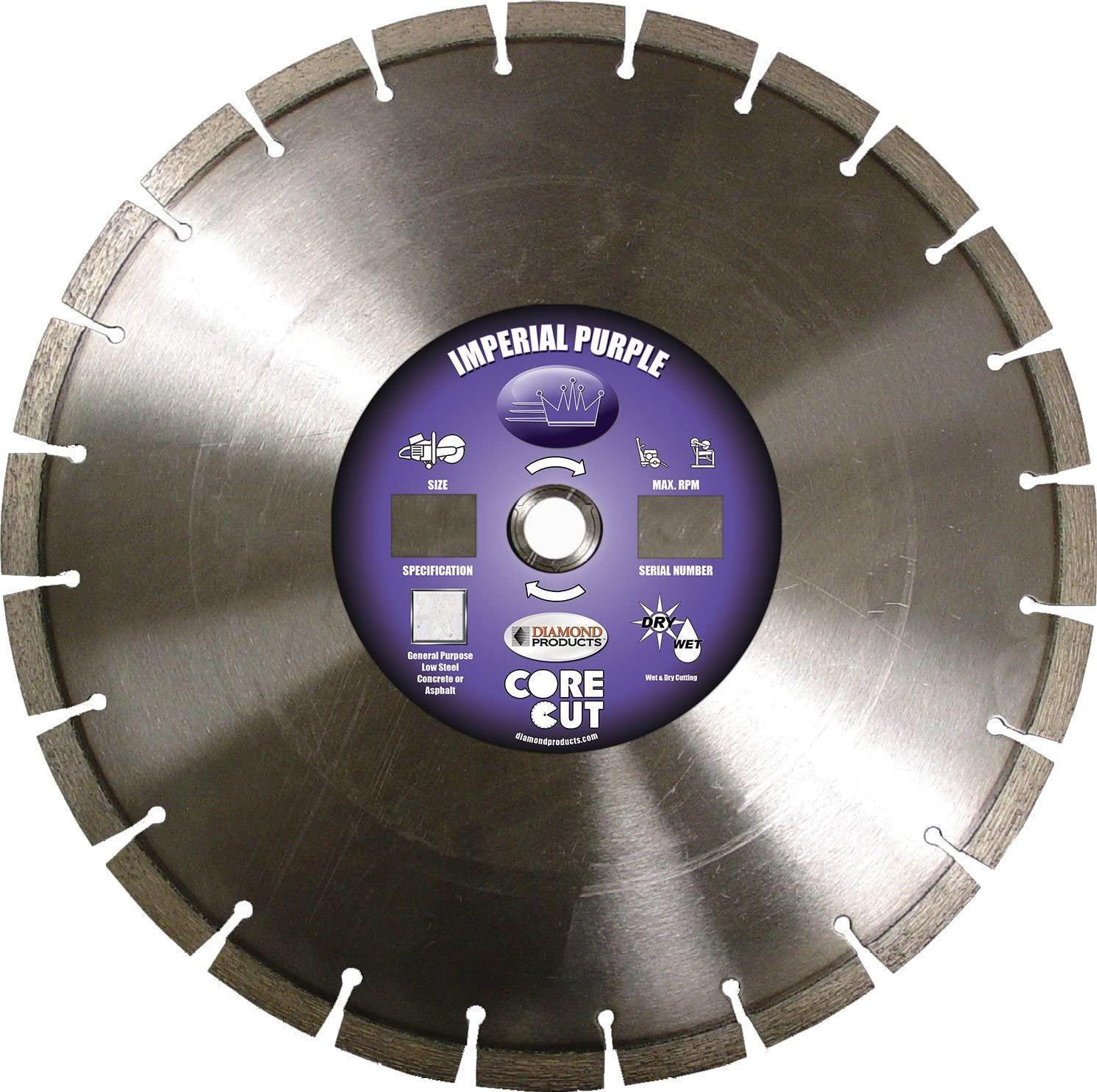 Diamond Products Core Cut Diamond Product 73080 Imperial Purple Segmented Dry Walk Behind Diamond Blade 14 x .125 x 1