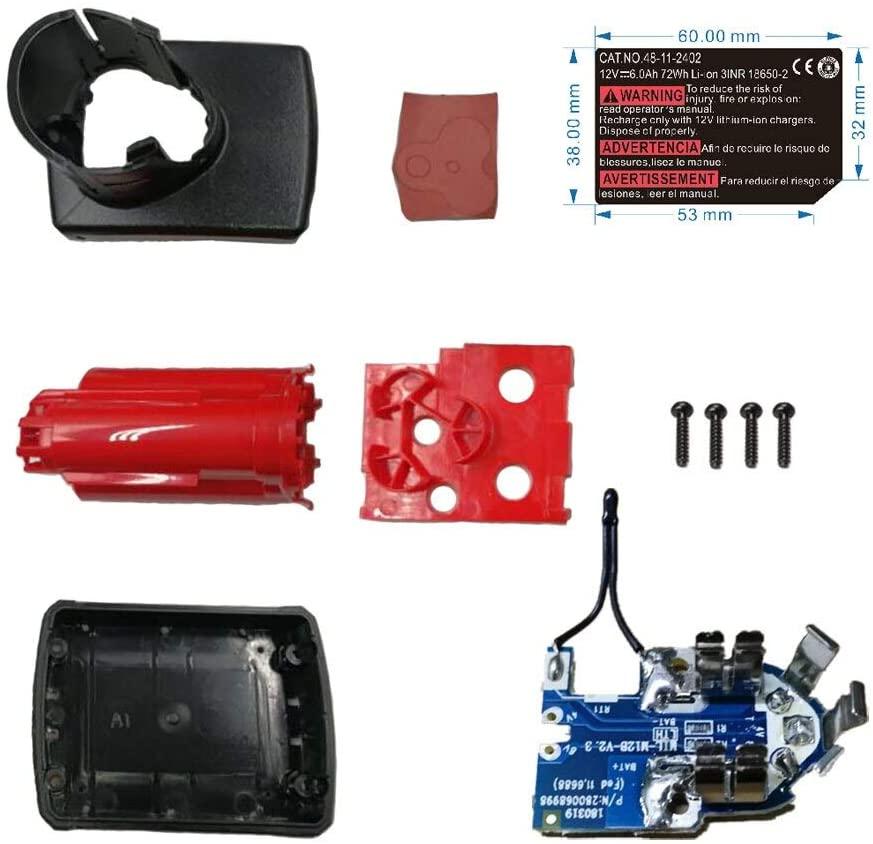 M12 Li-ion Battery Plastic Case PCB Charging Protection Circuit Board Label For Milwaukee 12V 48-11-2411 6Ah Sticker Box Housing (M12-6-BOXPCB-Sticker)