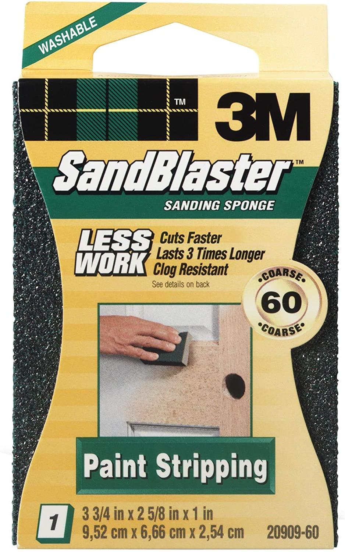 3M 20909-60 Sandblaster 60-Grit Sponge Block Sanding, Sponge, Block & Holder