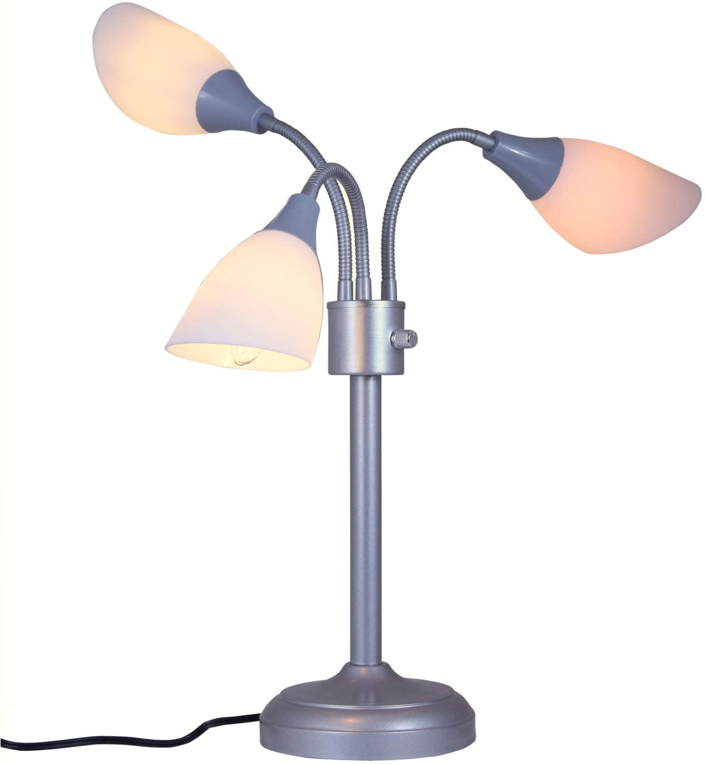 Modern Table Lamp Room Light by Lightaccents - Medusa Multi Head Standing Lamp Bedroom Light with 3 Positionable White Acrylic Reading Shades Room Light (Grey)