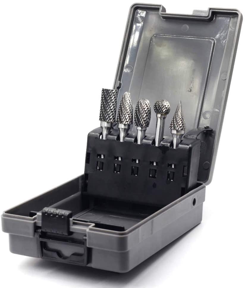 YUFUTOL Carbide Burr Set -5 Pcs 1/2 inch Cutter Head Diameter Double Cut Solid Carbide Rotary Burr Set 1/4 Inch Shank For Die Grinder Drill,Metal Carving,Polishing,Engraving,Drilling