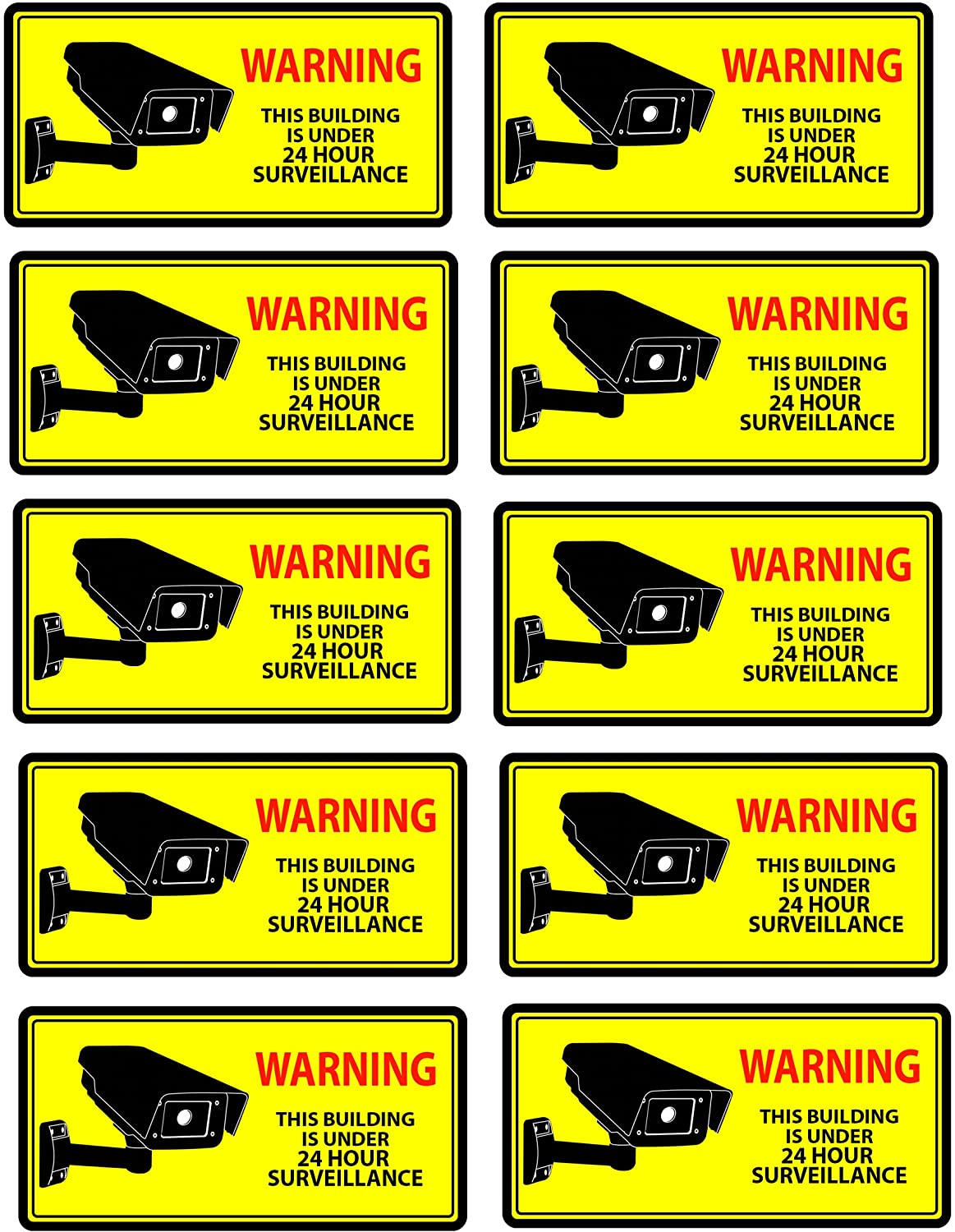 Security Camera Decal Warning Stickers, CCTV Video Surveillance Recording Signs from Vinyl for Indoors, Outdoors; by Mandala Crafts, Front Adhesive Solid Yellow