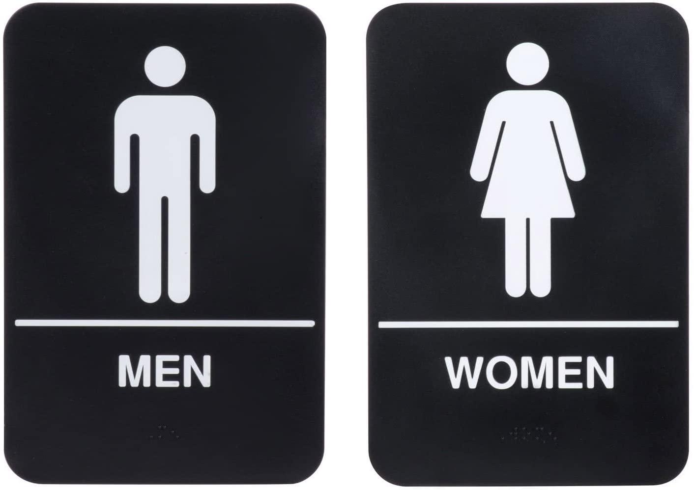 ADA Men and Women Restrooms Sign Set with Braille Toilet Door Plate for Business Restaurant, 6