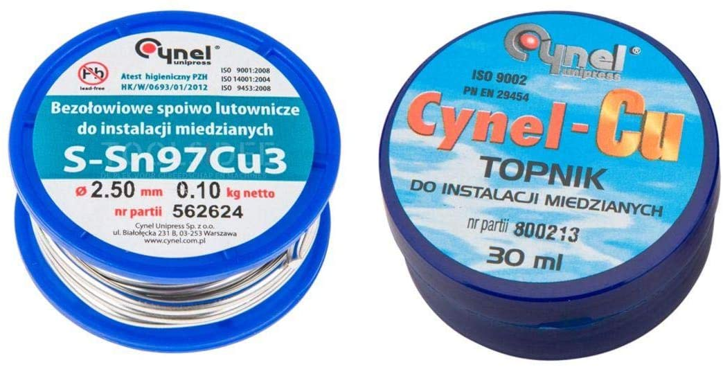 Set for soldering copper installations: solder and flux - blister CYNEL 44E745