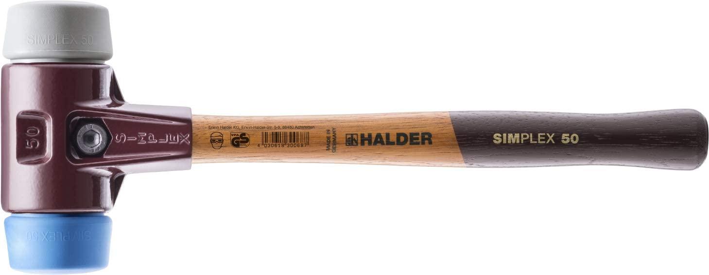 Halder 3013.060 Simplex 3 lb Soft-Face Hammer, Blue Rubber/Grey Rubber Faces