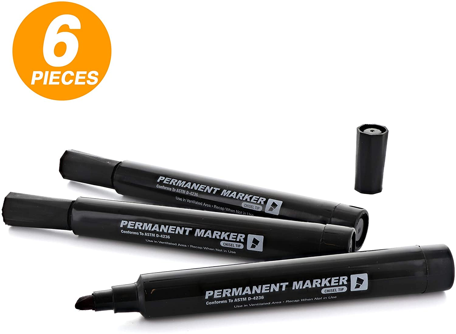 Emraw Black Chisel Tip Jumbo Permanent Marker Dry Erase Low Odor Whiteboard Comfortable Grip Office Markers for Paper and Plastic Mini Sharpie Pens Pack of 2