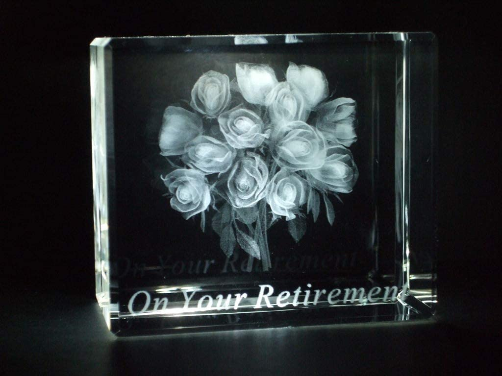 Crystal Images ON Your Retirement Roses Laser Paperweight 3 Dimensional 3685