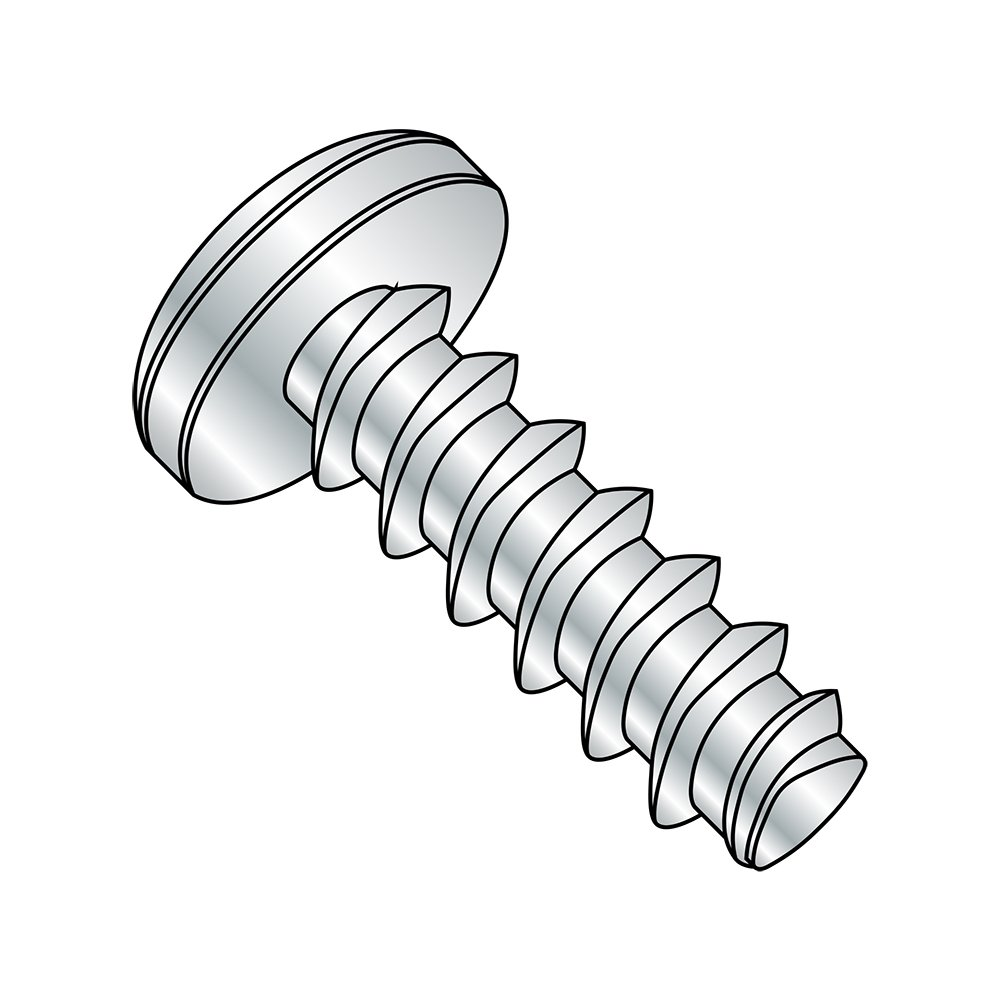 Steel Thread Rolling Screw for Plastic, Zinc Plated, Pan Head, Phillips Drive, #6-19 Thread Size, 1-3/4