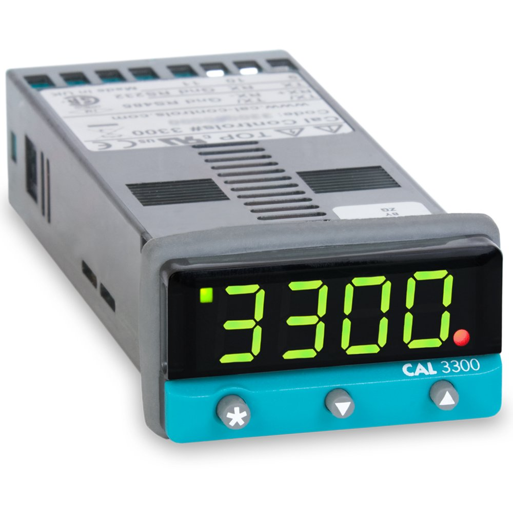 CAL Controls 330000400 CAL 3300 Series 1/32 DIN Temperature Controller, 100 to 240 VAC, SSR Driver and Relay Outputs, RS485 MODBUS RTU Communications