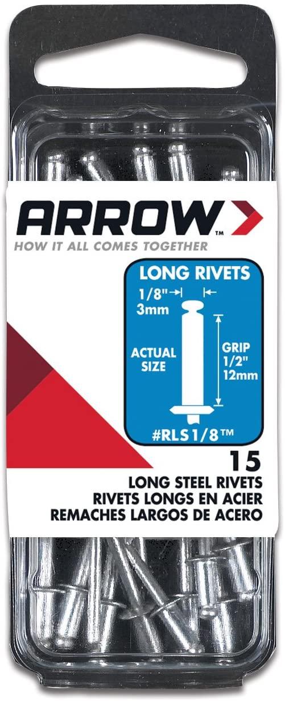 Arrow Fastener RLS1/8 Long Steel 1/8-Inch Rivets, 15-Pack