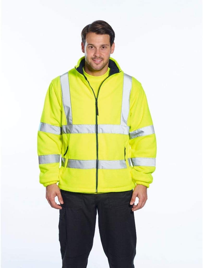 Brite Safety Hi Vis Mesh Lined Fleece Jacket - ANSI Class 3 Compliant High Visibility Jackets (Yellow,XL)