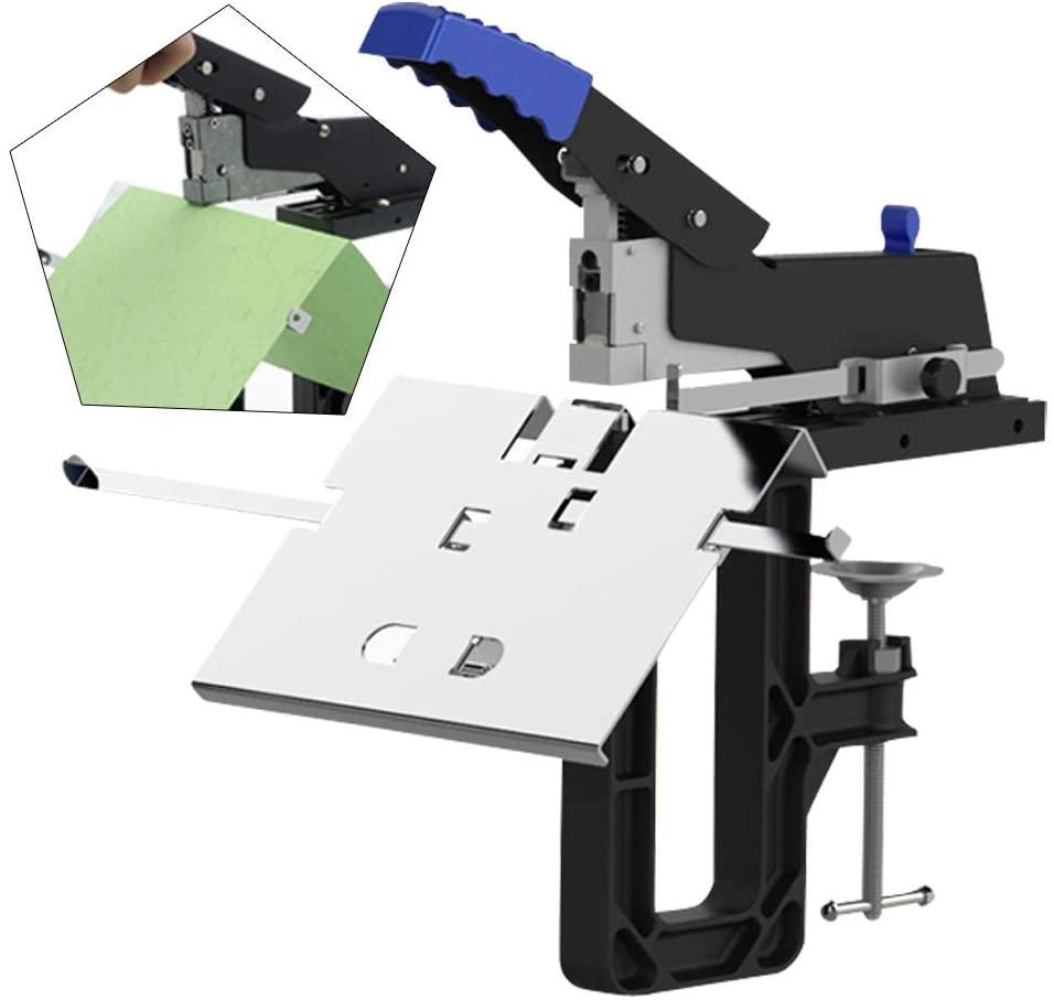 Manual Stapler, Dual Flat Nail Saddle Stitcher Stitching Stapler, Heavy Duty Office Binding Machine Binder, Hand Desktop Riding Stapler Tacker