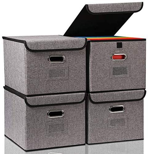 File Organizer Box with Lids Foldable Storage Box 4-pack Large Space with Strudy Handle for Office Cabinet Letter Size Grey