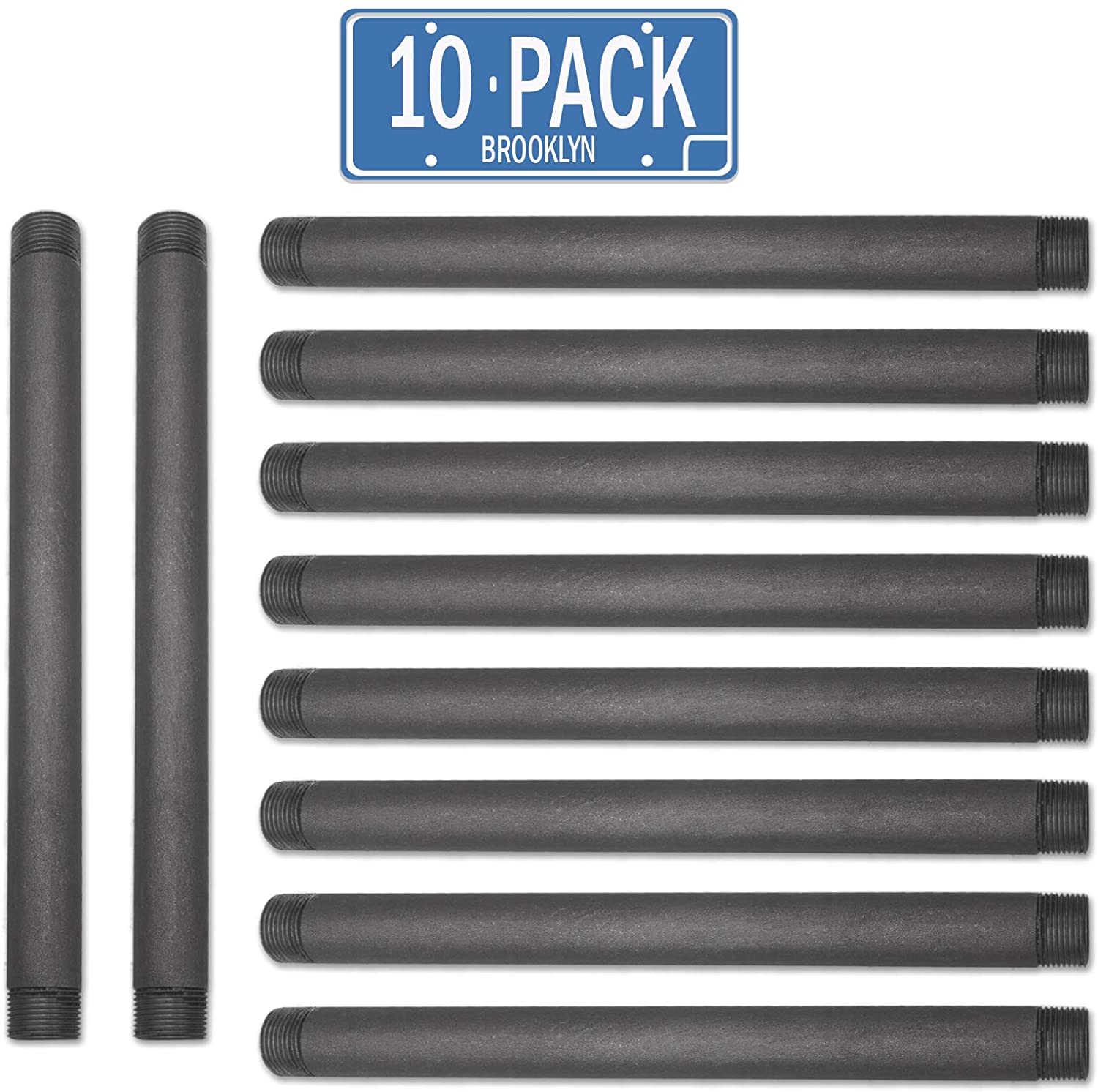 Brooklyn Pipe Sandblast Finish 3/4 x 6 Inch Heavy Duty Furniture Grade Steel Pipe for DIY Shelving and Home Decor Projects, 10 Pack