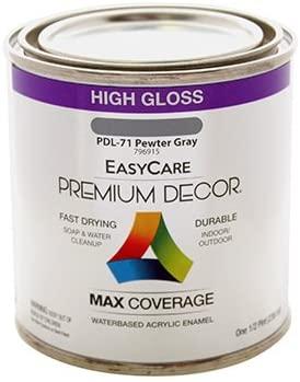 PREMIUM DECOR PDL71-HP Premium Decor Pewter Gray Gloss Enamel Paint, 1/2-Pt. - Quantity 6