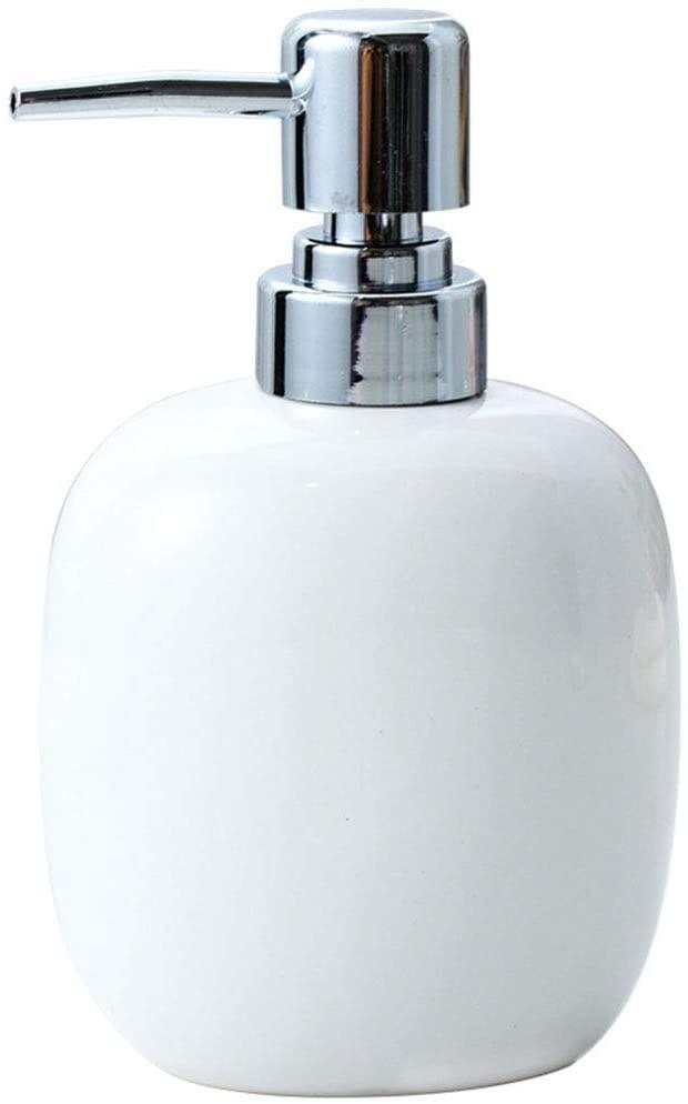 KOqwez33 450ml Ceramic Empty Soap Dispenser Bottle, Refillable Bathroom Countertop Shampoo Hand Liquid Soap Lotion Dispenser Pump Bottle Container White