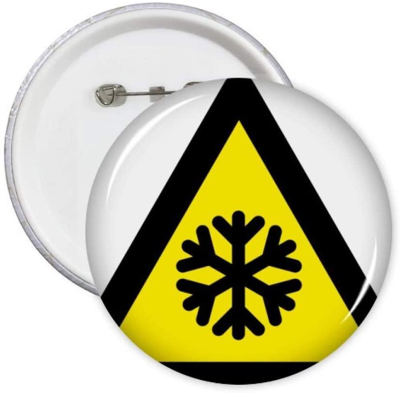 Warning Symbol Yellow Black Snow Road Icing Triangle Pins Badge Button Emblem Accessory Decoration 5pcs