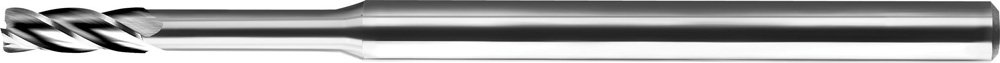 KYOCERA 1740-0100D100 Series 1740 Extended Reach Square End Mill, Carbide, DLC, 30 Degree Angle, 3 Flute, 0.0100