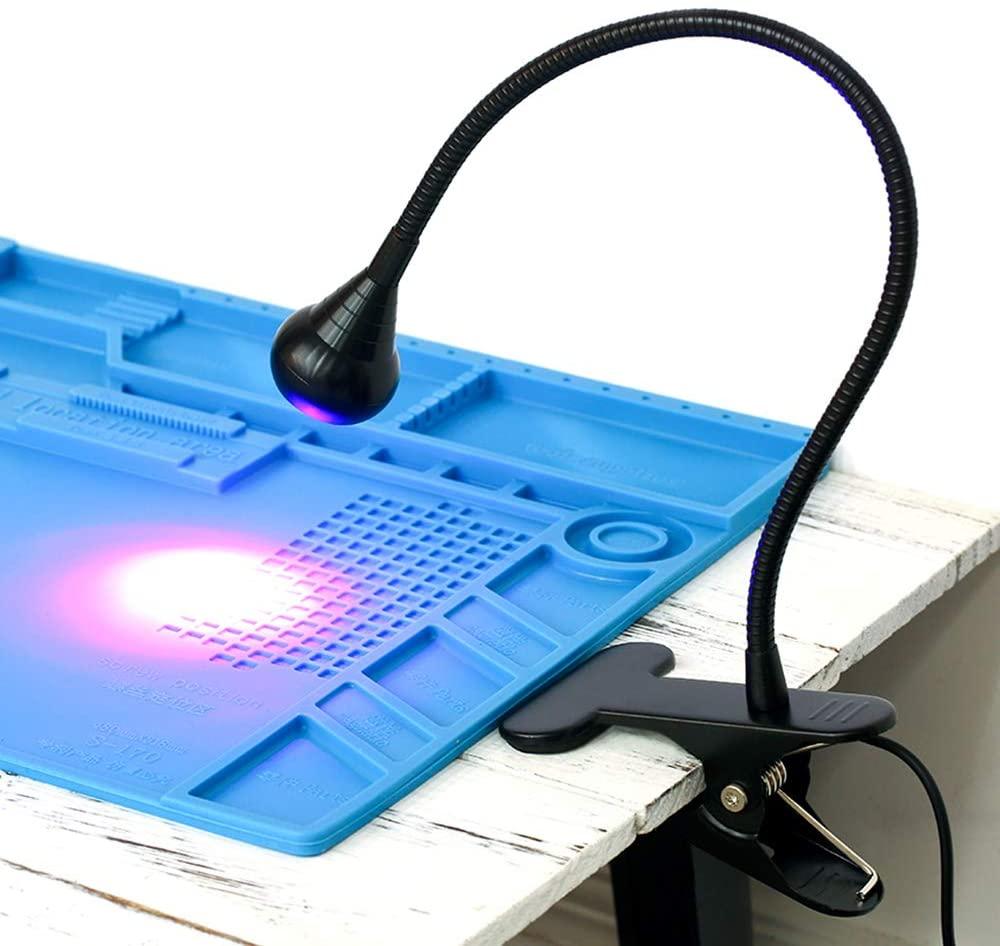 KKmoon UV Light, USB Ultraviolet Curing Lamp LED Blacklight Gooseneck Light with Clamp UV Light Fixture Black Light Lamp for Stain Detection Posters Black Light Party Art Fluorescent Paint