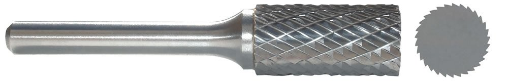 Carbide Bur, Cylinder, 1/8 In, 1/4 Shank