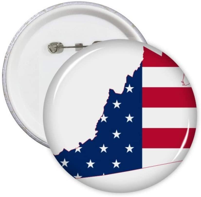 Virginia USA Map Stars Stripes Flag Shape Pins Badge Button Emblem Accessory Decoration 5pcs