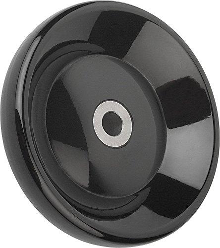 Kipp 06288-1140XCP Duroplastic Black Disc Handwheel Without Revolving Handle, Steel Bushing, High-Gloss Polished Finish, Style E, Inch, 140 mm Diameter, 0.5