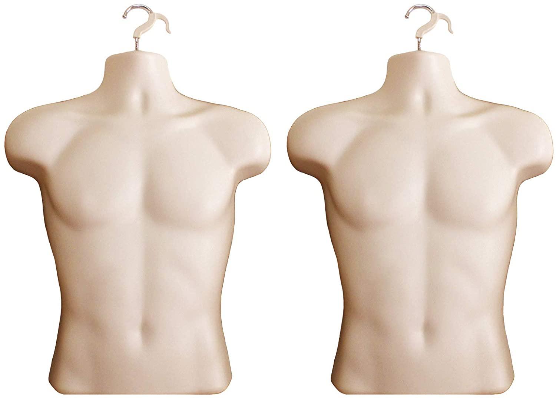 Flesh Male Mannequin Hollow Back Body Torso Dress Form & Hanging Hook, S-M Sizes (2 Pack, Flesh)