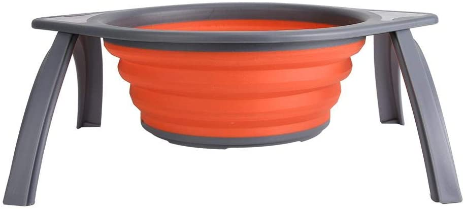 Diydeg Folding Basket, Space-Saving Basket, for Home Kitchen(Orange Gray)