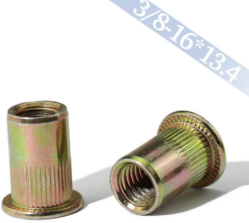 Boeray 20pcs 3/8-16 Zinc Plated Carbon Steel Flat Head Rivet Nut Threaded Insert Nut Rivnut