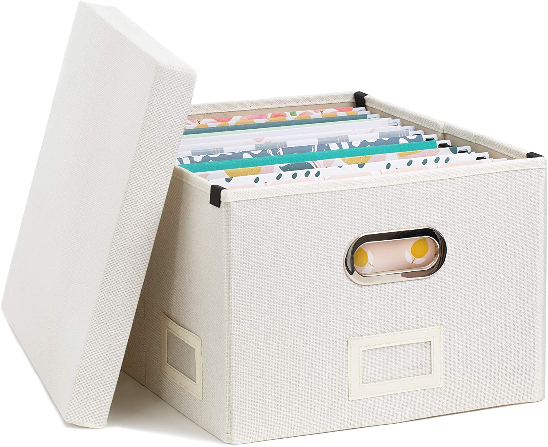 White Linen File Box | Storage Box | File Organizer | Document Organizer | File Storage | Storage Box with Lid | Decorative Storage Box | File Cabinet for Case Files | Portable File Box | Storage Bin