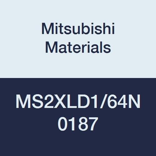 Mitsubishi Materials MS2XLD1/64N0187 MS2XL Series Carbide Mstar Square Nose End Mill, Short Flute, Long Neck Flute, 2 Flutes, 0.0156
