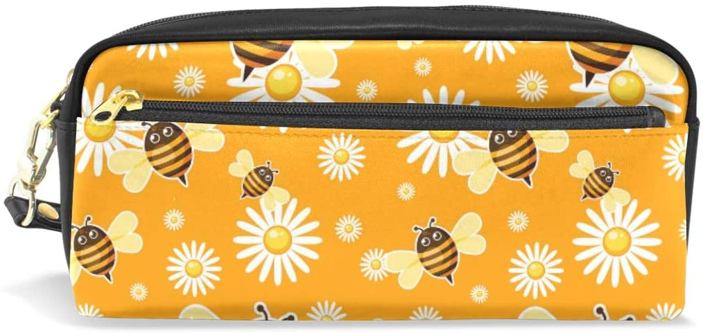 A Seed Pen Pencil Holder Bag Case Pouch Bee Honey Daisy Yellow Floral for Boys Girls Women Men