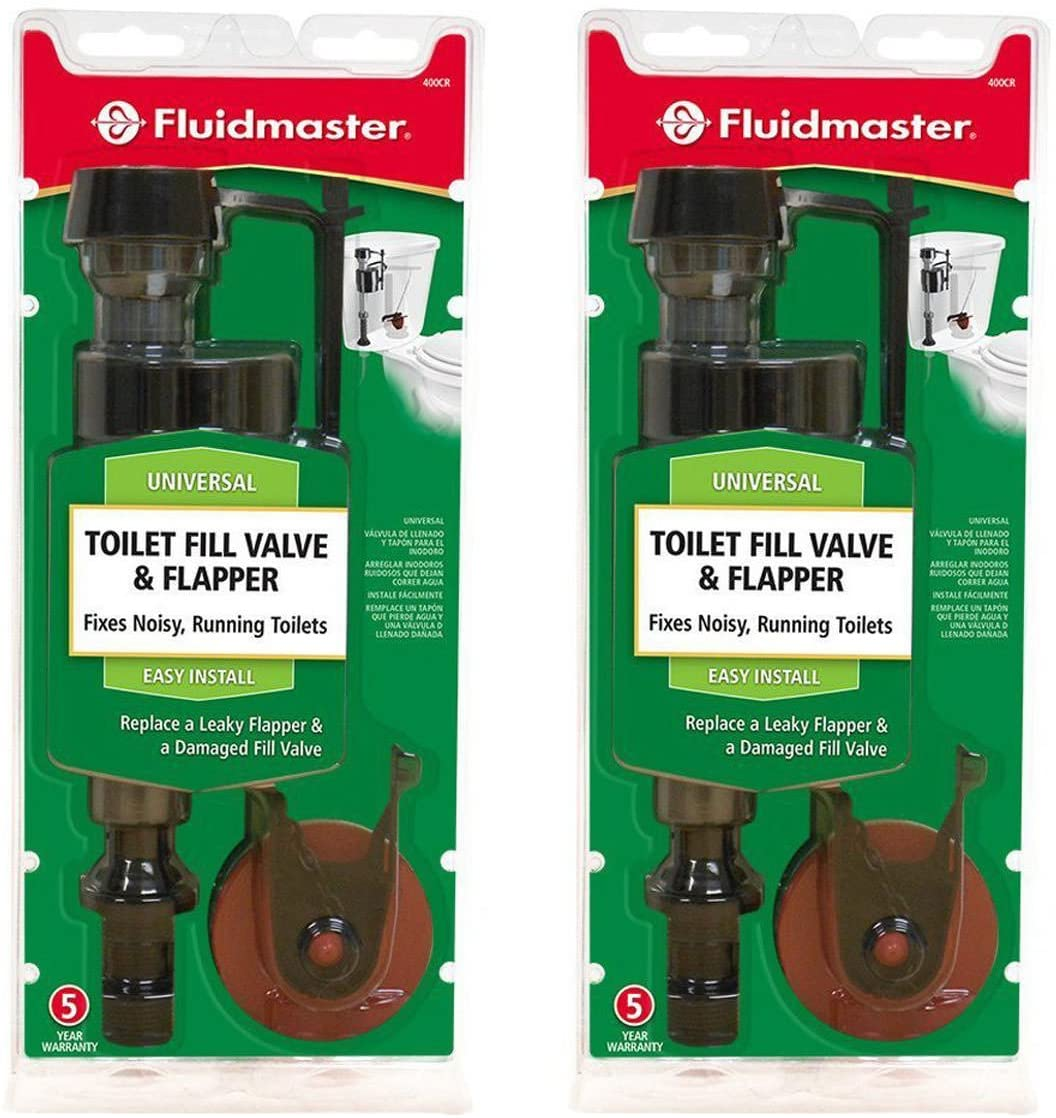 (Pack of 2) Fluidmaster 400CR Toilet Fill Valve and Flapper Repair Kit