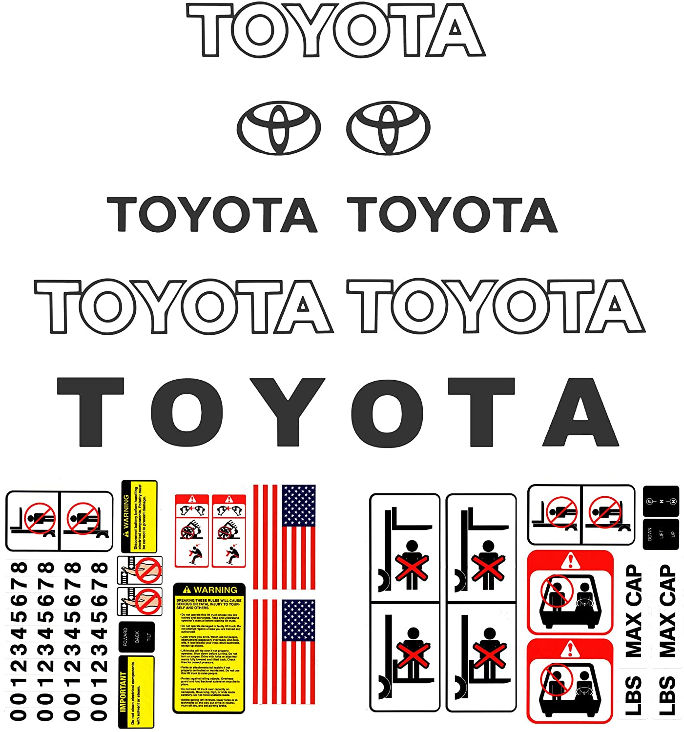 Bill's Lift Forklift Decal Kit for Toyota Industrial Lift Trucks and Equipment, Detailed w/Safety Decal Stickers for 7 & 8 Series - Dark Grey