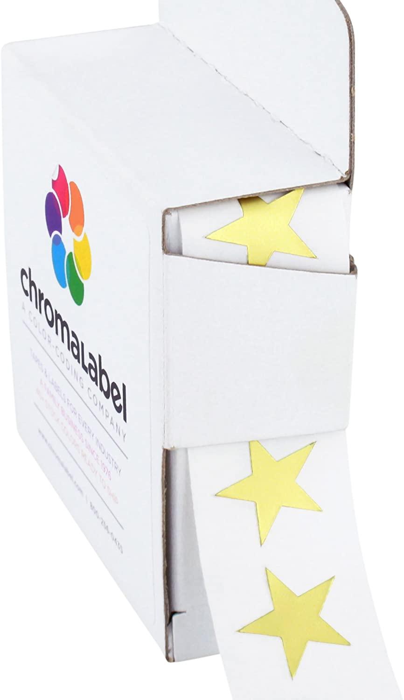 ChromaLabel 3/4 Inch Color Code Star Labels, 1000 Dispenser Box, Metallic Gold
