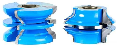 Amana Tool - SC590 2Piece Carbide Tipped 3-Wing Stile & Rail Bead & Cove Exterior Door 2-