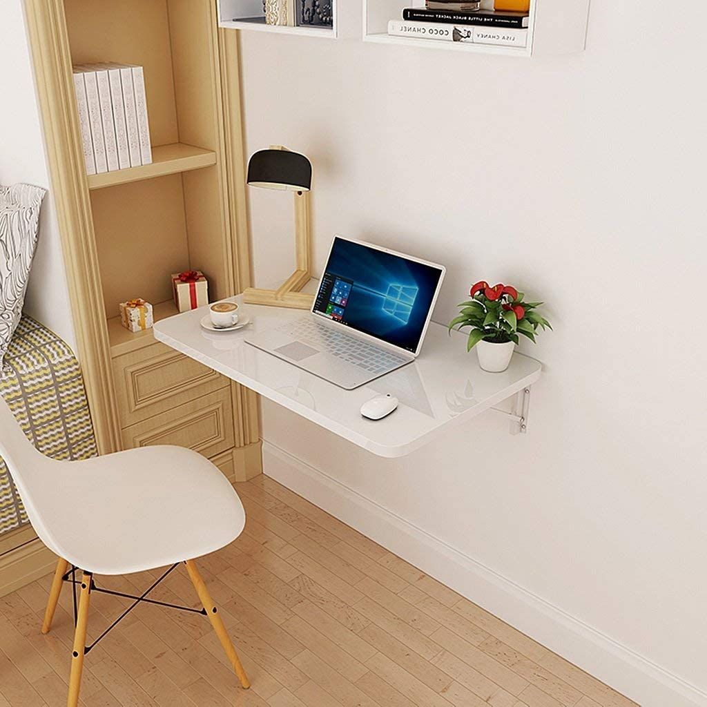 QTQZDD Foldable Wall Mounted Laptop Table Fold Down Dining Table for Small Space White Wood-Based Panel Home Office Computer Desk (Size : 100x40cm)