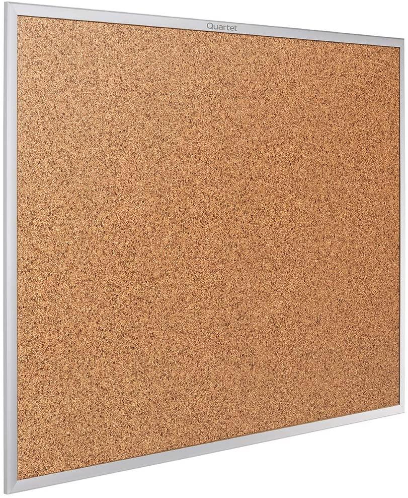 Quartet Cork Board, Bulletin Board, 3' x 2' Corkboard, Aluminum Frame (2303)