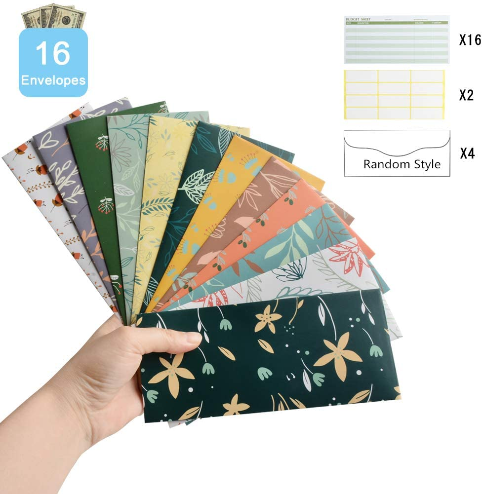 Pinshion 16 Pack Budget Envelope, Cash Envelope for Budgeting and Saving Money Water Resistant Reusable Budget Wallet and 16 Tracking Sheets