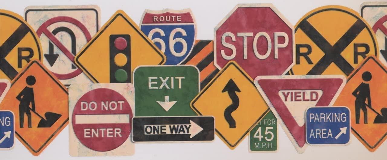 Traffic Signs Educational KZ1102B Wallpaper Border