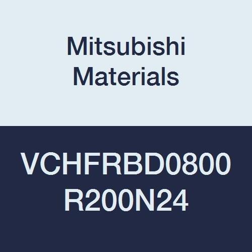 Mitsubishi Materials VCHFRBD0800R200N24 VCHFRB Carbide Miracle End Mill, High Feed Corner Radius, 4 Flutes, 8 mm Cut Dia, 2 mm Corner Radius, 24 mm Neck Length, 8 mm LOC, 60 mm Length