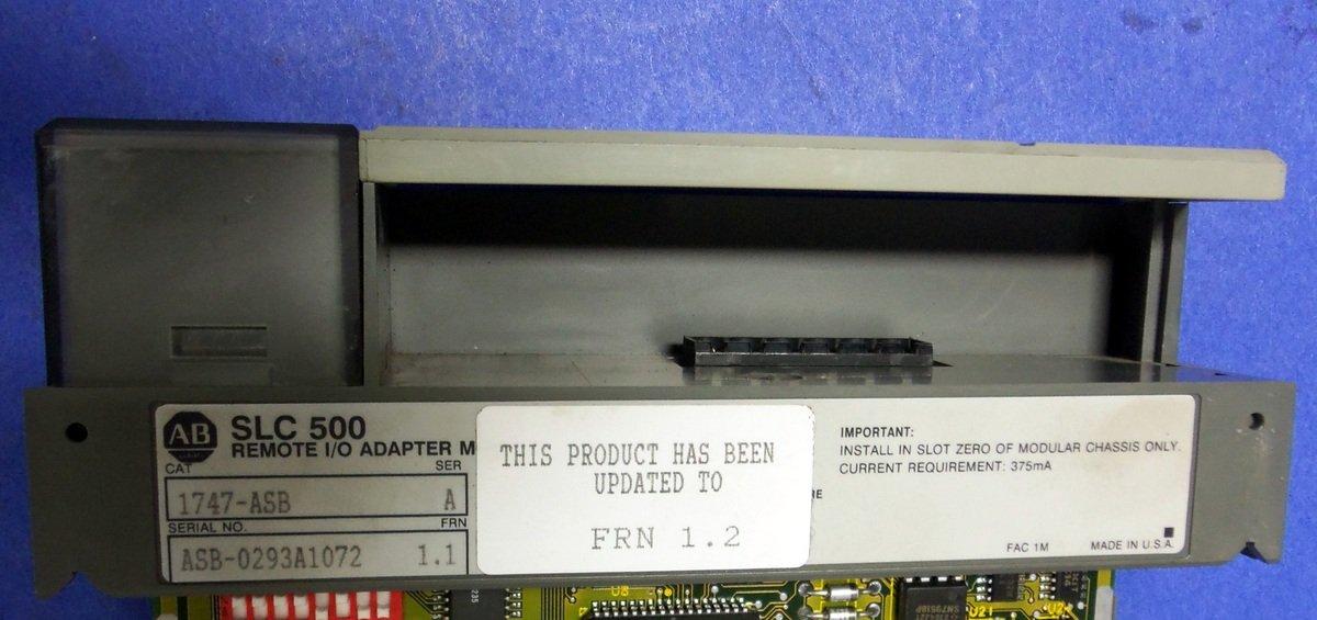 Allen Bradley SLC 500 Remote I/O Adapter Module, 1747-ASB SER. A FRN 1.2
