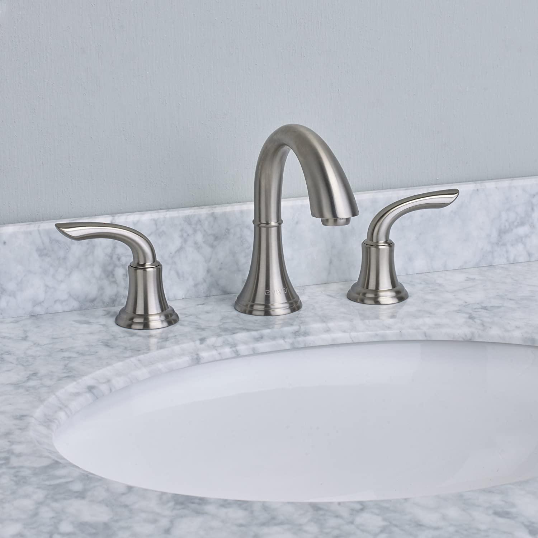 Eviva EVFT32BN Friendy Widespread (2 Handles) Bathroom Faucet (Brushed Nickel) Combination